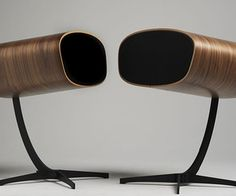 The newest high-end loudspeakers from Davone Audio of Denmark are inspired by the classic Eames Lounge chair and ottoman. The Ray, are encased in walnut wood veneer and stand on metal legs.