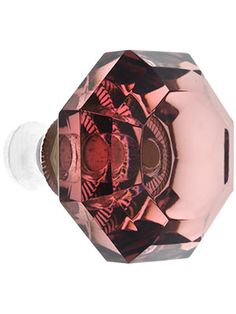 Amethyst Lead-Free Octagonal Crystal Knob with Solid Brass Base