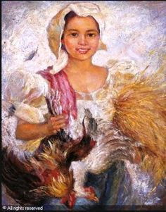 Artwork by Anita Magsaysay-Ho, Girl with roosters, Made of oil on board Filipino Art, Filipino Culture, Southeast Asian Arts, Philippine Art, Art Pictures, Art Pics, Photos, Vintage Artwork, Beautiful Artwork