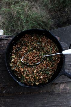 Balsamic lentils, spinach and garlic