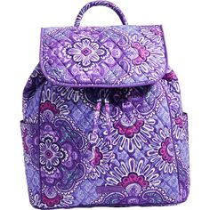 NEW...The Vera Bradley Drawstring Backpack in Lilac Tapestry updates the classic backpack silhouette with a drawstring closure under the front flap.