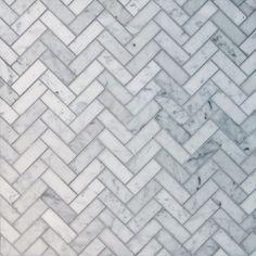 Herringbone Pattern Natural Stone Mosaics - Bianco Carrara / Various / Polished