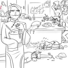 """China """"Note to self Never let the FACE family in my kitchen ever again. Manga, Hetalia Funny, Draw The Squad, Least Favorite, Mystic Messenger, Piece Of Cakes, Beautiful World, Funny Pictures, Fandoms"""