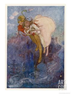 Peter Pan and Wendy Float Away Over the City Giclee Print by Alice B. Woodward at Art.com