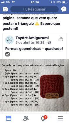 Crochet Squares, Crochet Stitches, Knit Crochet, Amigurumi Tutorial, Crochet Doll Pattern, Knitting, Tips, Nova, Magic Ring
