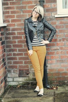 like the combo of the mustard jeans, with the stripey top and biker leather jacket!