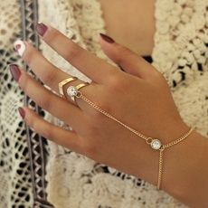 Buy Vintage Gold Big Crystal Ring Bracelet Wrist Chain Jewelry Fashion Hand Back Bangles Female Women Arm Link Ornaments at Wish - Shopping Made Fun Women's Jewelry Sets, Hand Jewelry, Cute Jewelry, Body Jewelry, Women Jewelry, Accessories Jewellery, Handmade Jewellery, Slave Bracelet, Hand Bracelet