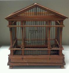 ANTIQUE VINTAGE WOOD WIRE BIRD CAGE HOUSE Architectural BEAUTIFUL! #JM