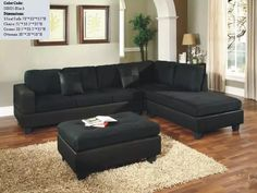 US Pride S0005 Black Microfiber Sectional Sofa Couch