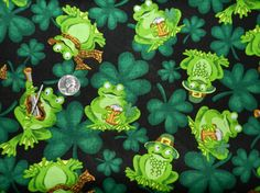 Irish Frogs  Fabric By The Yard by TheFabricFox on Etsy, $9.95