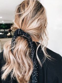 I love this cute messy ponytail with a bandana scarf!