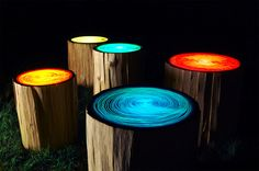 Tree Ring stump table by Judson Beaumont, Straight Line Designs, Patio Lighting, Tree Lighting, Lighting Ideas, Lighting Design, Cool Diy, Easy Diy, Log Stools, Outdoor Stools, Outdoor Seating