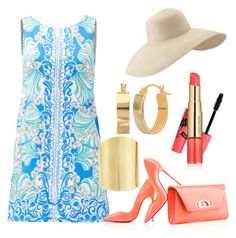 """""""A Cute Coral"""" by deeg0013 on Polyvore featuring Lilly Pulitzer, Christian Louboutin, Eric Javits, Boohoo, Estée Lauder and Lydell NYC"""