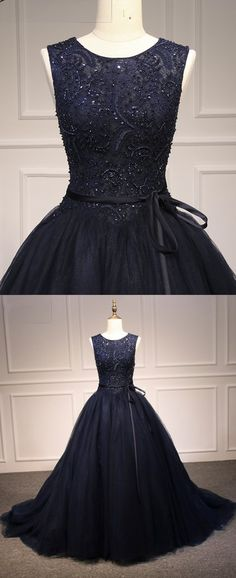 Prom Dresses Beautiful, Navy Blue Tulle Round Neck Long Lace Top Senior Prom Dress, Formal Dress, Looking for the perfect prom dress to shine on your big night? Prom Dresses 2020 collection offers a variety of stunning, stylish ball. Tight Prom Dresses, Senior Prom Dresses, Gold Prom Dresses, Long Prom Gowns, Plus Size Prom Dresses, Dress Formal, Dresses Uk, Ball Dresses, Dress Prom