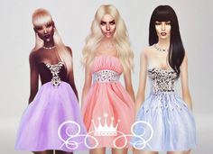 Romantic Collection 3 dresses at Fashion Royalty Sims via Sims 4 Updates