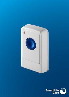 Mit der Alarmtaste können Sie auch dann einen Notruf auslösen, wenn Sie keinen Notrufknopf tragen. Die Alarmtaste wird beispielsweise im Schlafzimmer oder im Bad montiert. Washing Machine, Appliances, Button, Black Bracelets, Light Switches, Light Blue, Black Braces, Speakers, Bedroom