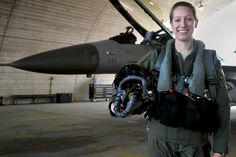 First Lt. Clancly Morrical, 36th Fighter Squadron pilot, stands by her F-16 Fighting Falcon March 13, 2013, at Osan Air Base, South Korea. Morrical is Osan's only female pilot.
