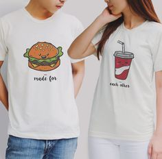 SALE OFF 10% buger and coke couple Tshirt,couple tshirts,couple shirts,couple set,gift for valentines,matching tshirts,gift for wedding
