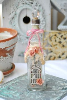 Rose Adorned Vintage Shabby Chic Bottle by Bricada on Etsy