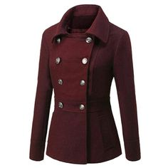 Turn-down Collar Long Sleeves Double Button Short Wool Coat