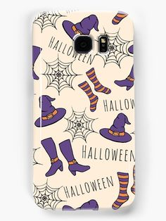Witchy Halloween Pattern Samsung Galaxy Case by Anastasia Shemetova #faerieshop #wicca #painting #sketch #magic #socks #witch #witchcraft #pattern #purple #drawing #black #halloween #gothic #orange #hat #shoes #boots #art #illustration #cobweb #spider #web #magickal #stockings #redbubble #accessories #phone #case #skin