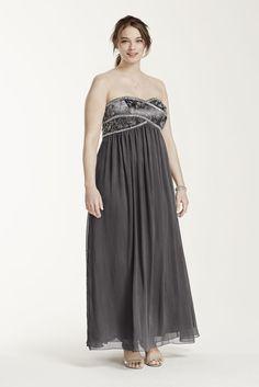Long Chiffon Strapless Dress with Beaded Bodice