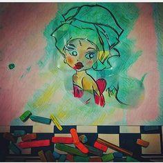 Pintura com giz pastel #gizpastel #mulher #meninanegra