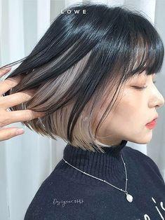 Under Hair Color, Two Color Hair, Perfect Hair Color, Hair Color Streaks, Hair Dye Colors, Hair Color Ideas For Black Hair, Hair Highlights, Kpop Hair Color, Korean Hair Color