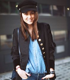 @Who What Wear - Andy Torres of Style Scrapbook  Why not embrace the origins of this stylish cap and don a military-inspired outfit, like Torres? Her gold button H&M Paris Collection blazer accentuated the soldierly feel of her H&M cap. For the rest of her look, she chose a Zara Basic Denim Shirt ($50), Guess Kate Skinny Jeans ($45), and a petite, structured Rebecca Minkoff Hudson Moto Bag ($365).