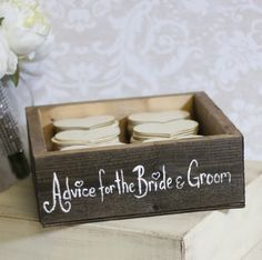 This is my favorite. Gotta have this. 75. On etsy. Maybe I could make it. Decorative box with 150 wooden hearts. Guests write advice or notes on the hearts. Meghan