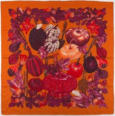 "Hermes Cashmere and Silk Scarf ""Citrouilles et Coloquintes"" Designed by Valerie Dawlat-Dumoulin Beautiful Scarves, Scarf Patterns, Designer Scarves, Scarf Design, Vintage Scarf, Silk Scarves, Silk Fabric, Textile Design, Wraps"