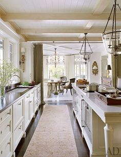 Love the curtains that can separate the kitchen from eating area. Clever.