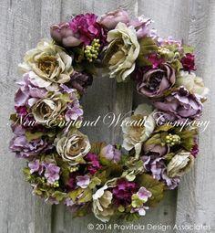 Floral Wreath, Victorian Garden Wreath, Fall Wreath, Country French, Summer Wreath, Romantic Wedding