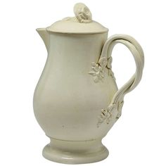 English Creamware Pottery | Antique English pottery creamware water jug and cover 18th century ...