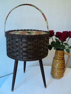 $55 | Vintage Sewing Basket with Stand