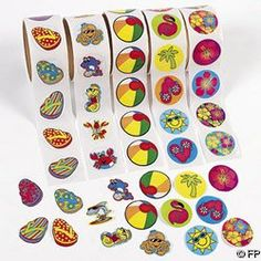 500 (5 Rolls) TROPICAL Stickers/HIBISCUS/FLIP FLOP/BEACH BALL/SEA CREATURES/LUAU PARTY Theme/FAVORS/DECOR $11.95 (save $3.04) + Free Shipping