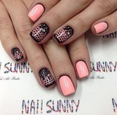 Black and pink nails, Dating nails, Evening dress nails, Evening nails, Fishnet nails, Lace nails, Nails for love, Nails ideas 2016