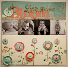 #papercrafting #scrapbook #layout - TweetScraps: February Stamp of the Month - Layout in Bloom - Seaside - A Happy Hello