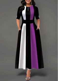Party Dresses For Women Button Detail Round Neck Half Sleeve Maxi Dress