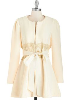 Virtues of Victorian Vogue Coat in Ivory, @ModCloth
