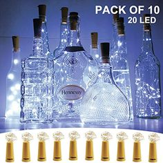 SEEOU 20 LED Wine Bottle Lights with Cork, 10 Pack Craft Cork Copper Wire Starry Fairy Lights, Battery Operated String Lights for DIY Events Party Wedding Christmas Halloween (Cool White) >>> Check out this great product. (This is an affiliate link) Wine Bottle Corks, Lighted Wine Bottles, Bottle Lights, C7 Christmas Lights, Christmas Lanterns, Starry String Lights, Indoor String Lights, Battery Operated String Lights, Copper Lighting