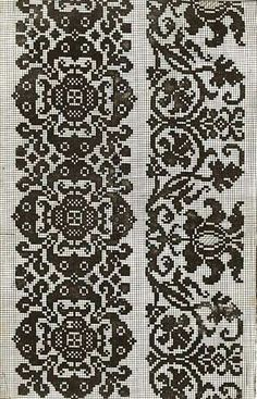 This Pin was discovered by mil Crochet Borders, Cross Stitch Borders, Filet Crochet, Cross Stitch Designs, Cross Stitching, Cross Stitch Patterns, Blackwork Embroidery, Cross Stitch Embroidery, Embroidery Patterns