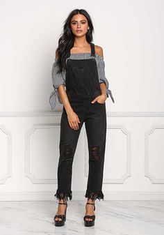 Black Distressed Fringe Denim Overalls - New Black Overalls, Denim Overalls, Denim Skirts, Apostolic Fashion, Apostolic Style, Emo Fashion, Fashion Outfits, Cute Jeans, Junior Outfits