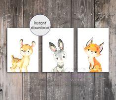 Woodland Animal Printable Prints Set of 3 - Deer Rabbit Fox - Printable Wall Art