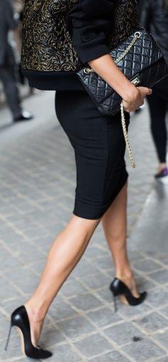 Workplace glamor..pencil skirt and heels, heels, heels...l