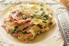 Tagliatelle cu sunca si mazare - Retete culinare by Teo's Kitchen New Recipes, Potato Salad, Food And Drink, Potatoes, Chicken, Meat, Ethnic Recipes, Kitchen, Food Ideas
