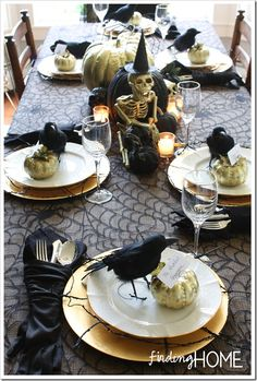 Elegantly Spooky Halloween Tablescape (& a sense of humor) - Finding Home