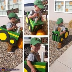 This is my son Lucas his costume is inspired by his love for tractors. I used a diaper box for the body, Styrofoam for the wheels, felt for decals, a paper towel roll for the exhaust and LED lights for the head lights (they really. Farmer Halloween Costume, Farmer Costume, Homemade Halloween Costumes, Halloween Costume Contest, Halloween Kostüm, Family Halloween, Holidays Halloween, Costume Ideas, Diy Auto