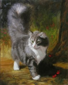 "Portrait of a cat  16""x20"" Oil on Canvas  by Dave Kramer.  I'm currently in his oil painting class.  He is terrific!"