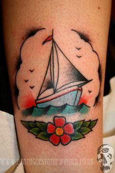 lovely sailboat tattoo